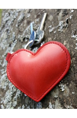 Leather Heart keychain Charm