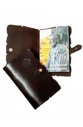Credential leather case with engraved shell